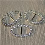23mm oval diamante buckle - silver