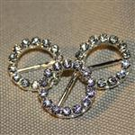 16mm round diamante buckle - silver