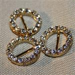 16mm round diamante buckle - gold