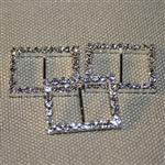 20mm rectangular diamante buckle - silver