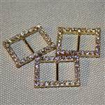 20mm rectangular diamante buckle - gold